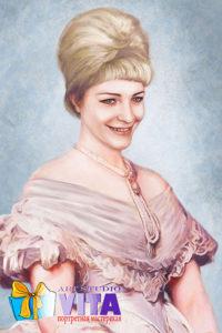 Портрет имитация живописи на холсте